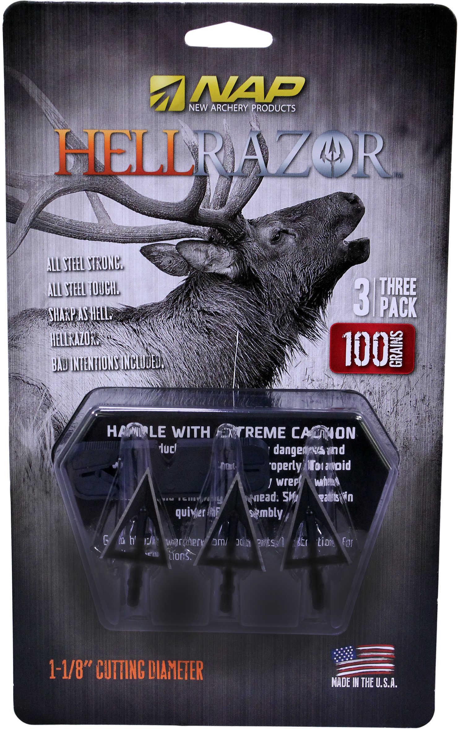 Nap Nap-60-410 Hellrazor Crossbow Broadhead Fixed 100 Grain Black