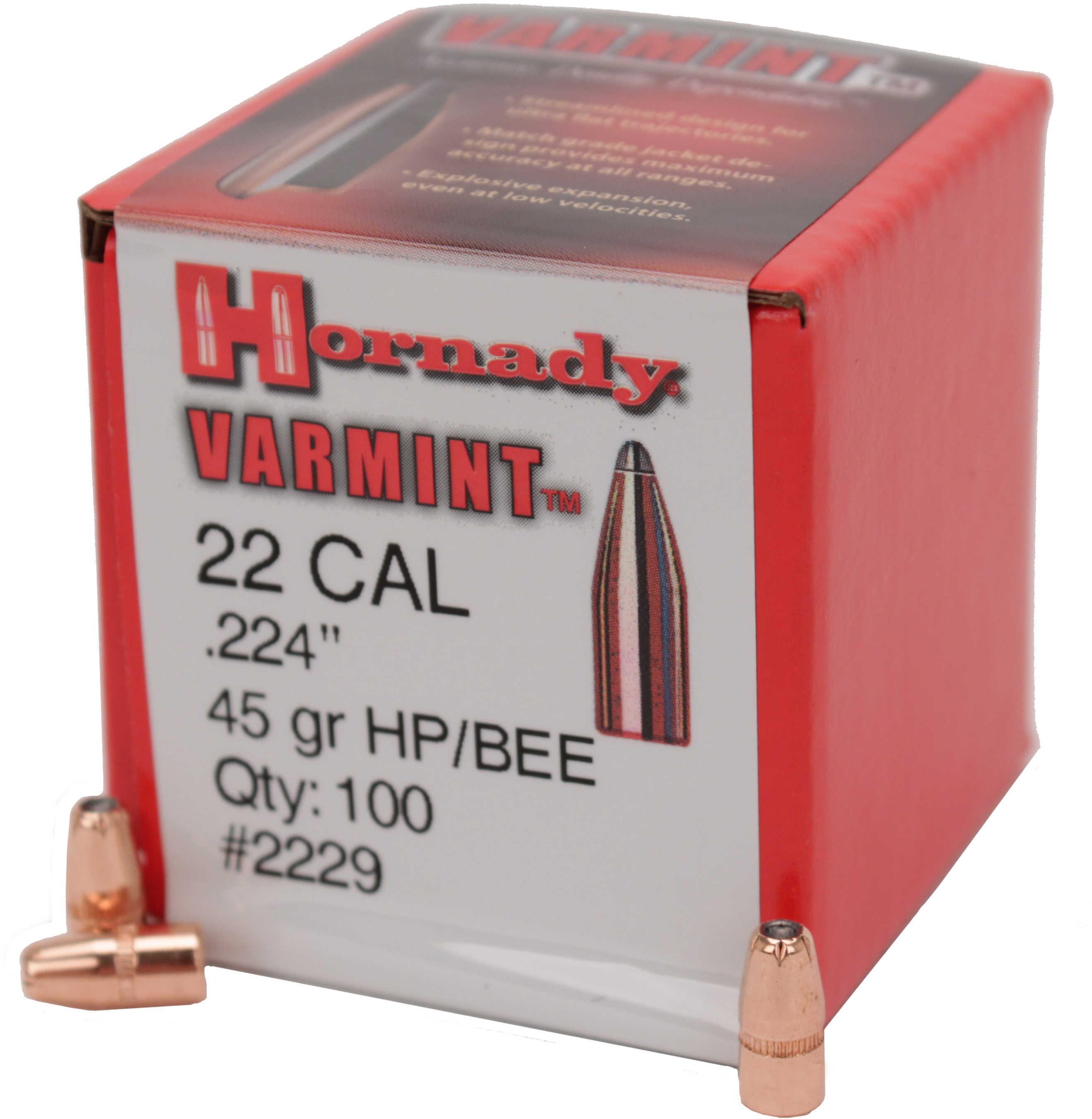 Hornady Bullets 22 Caliber .224 45 Grain JSP-FP 100CT