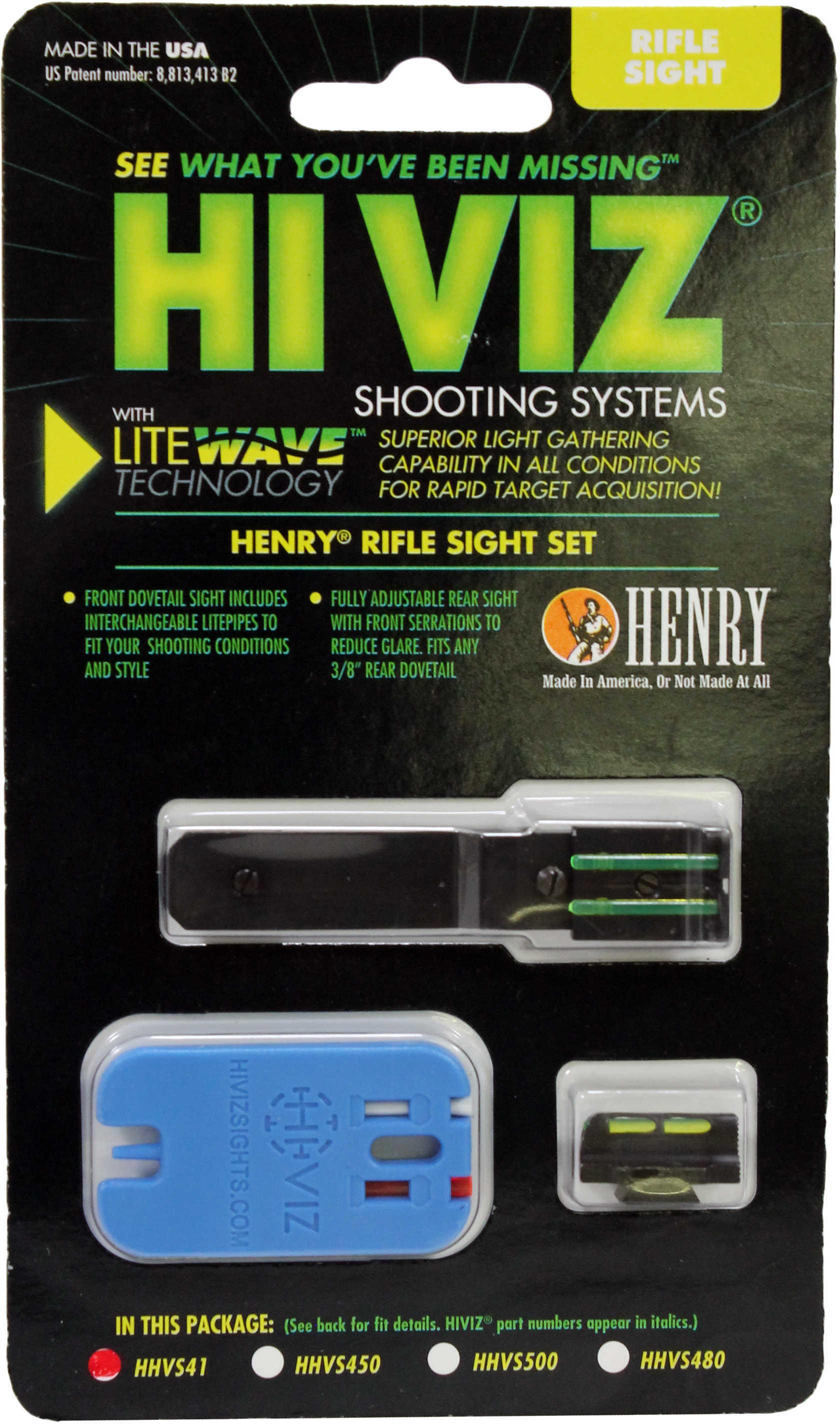 Hi-Viz Litewave Front & Rear Sight Set Fits Henry Big Boy Rifles Front Includes Green Red White Litepipes Rear Includes