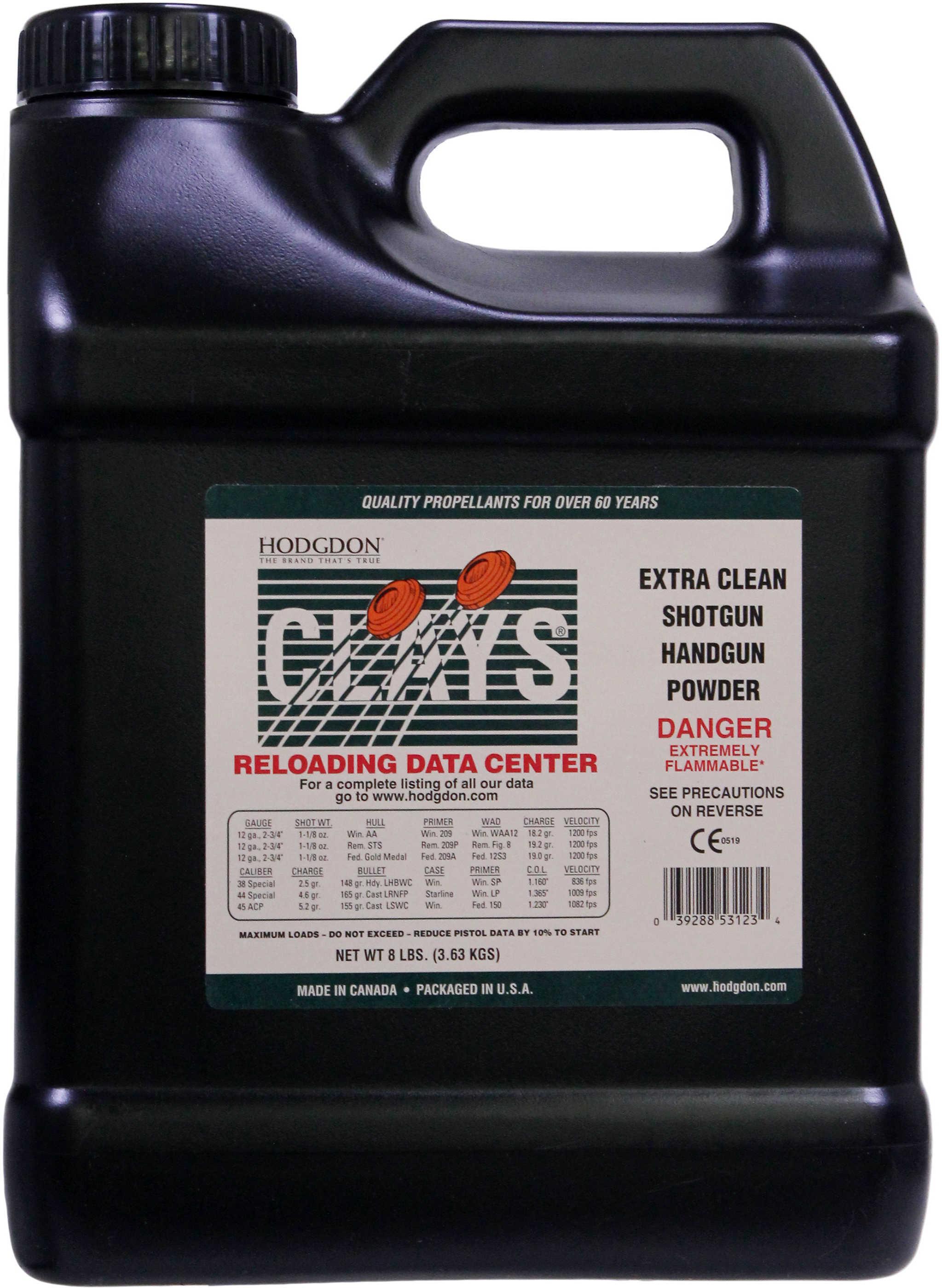 Hodgdon Powder Clays Smokeless 8 Lb