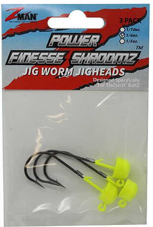 Z-man Power Finesse Shroomz Hooks 1/6 oz Weight, 3/0 Hook, Chartreuse, Per 3 Md: PJH16-03PK3