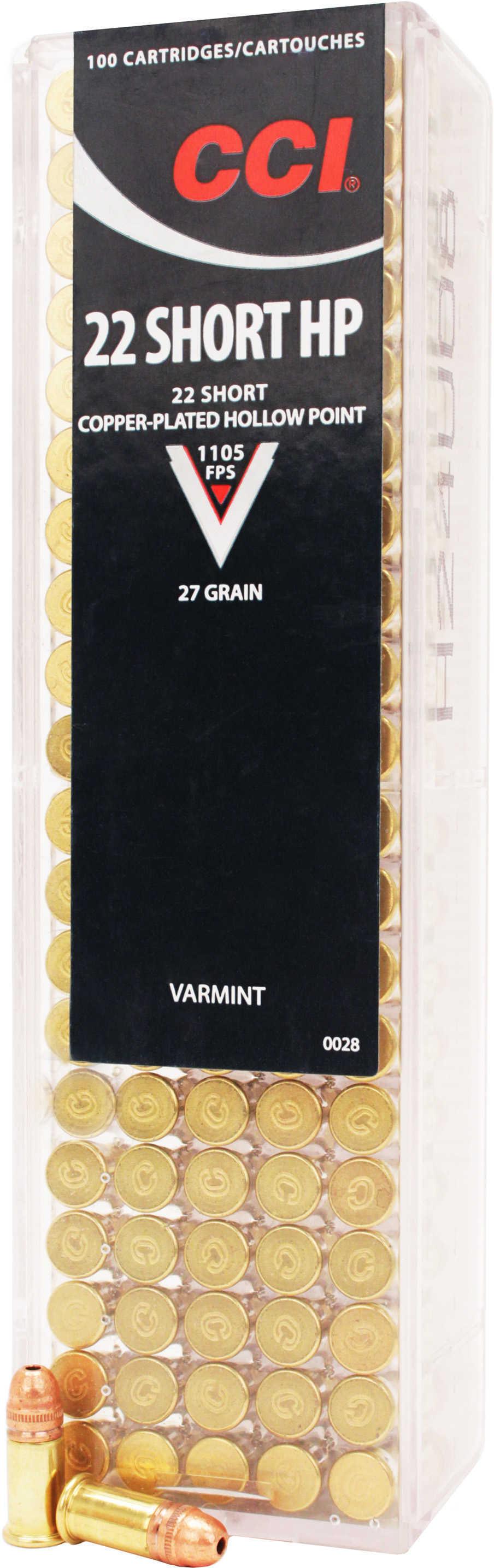 CCI Varmint 22 Short 27 gr Copper Plated Hollow Point (CPHP) 100 Bx