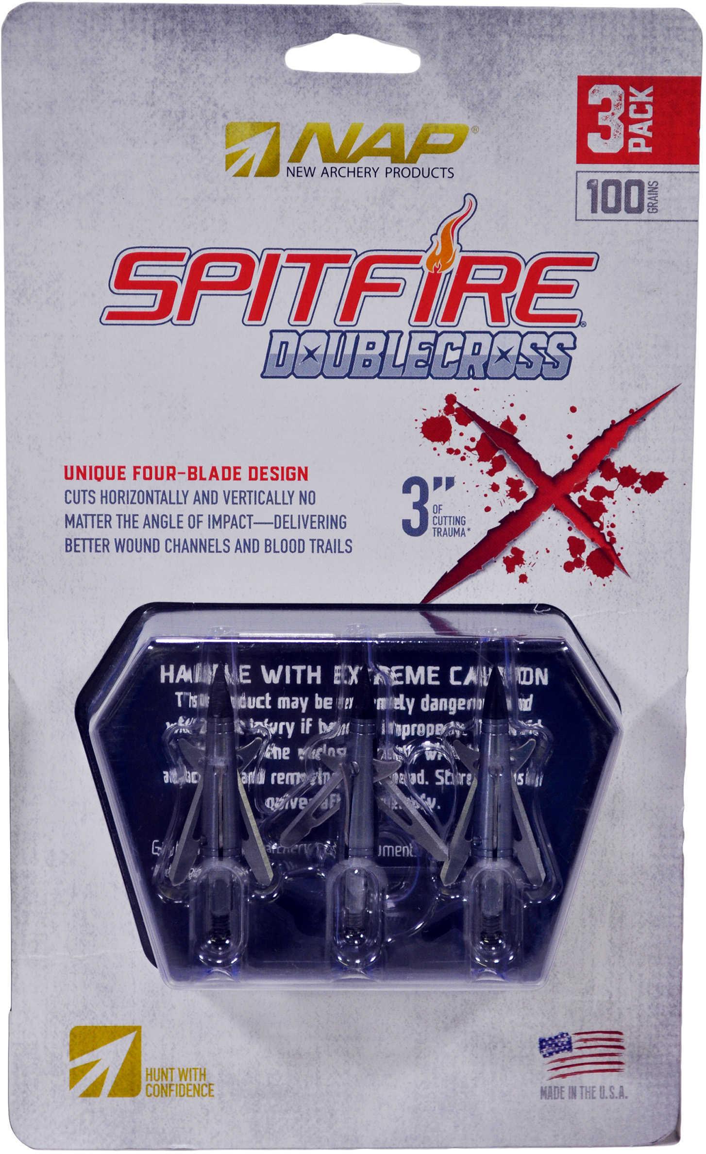 New Archery Broadheads Spitfire Double Cross 100 Grains 3 Pack Model: 60-086