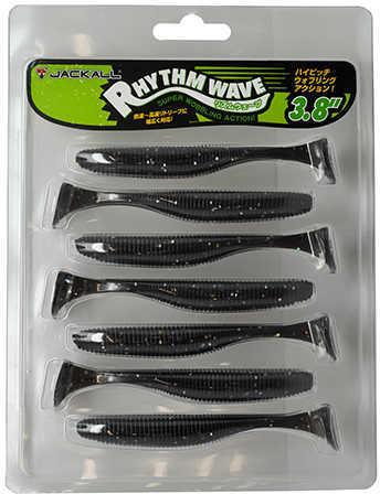 "Jackall Lures Rhythm Wave Soft Swim Bait Lure 3.80"" Body Length, Holo Black, Per 7 Md: JRHYTW38-HBLK"