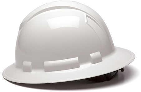 Pyramex Safety Products Ridgeline Full Brim Hard Hat 4 Point Ratchet, White Md: HP54110