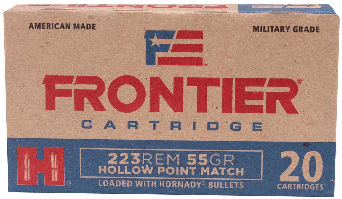 Hornady 223 Remington Frontier Cartridge Military Grade, 55 Grains, Hollow Point Match, Per 20 Md: FR140