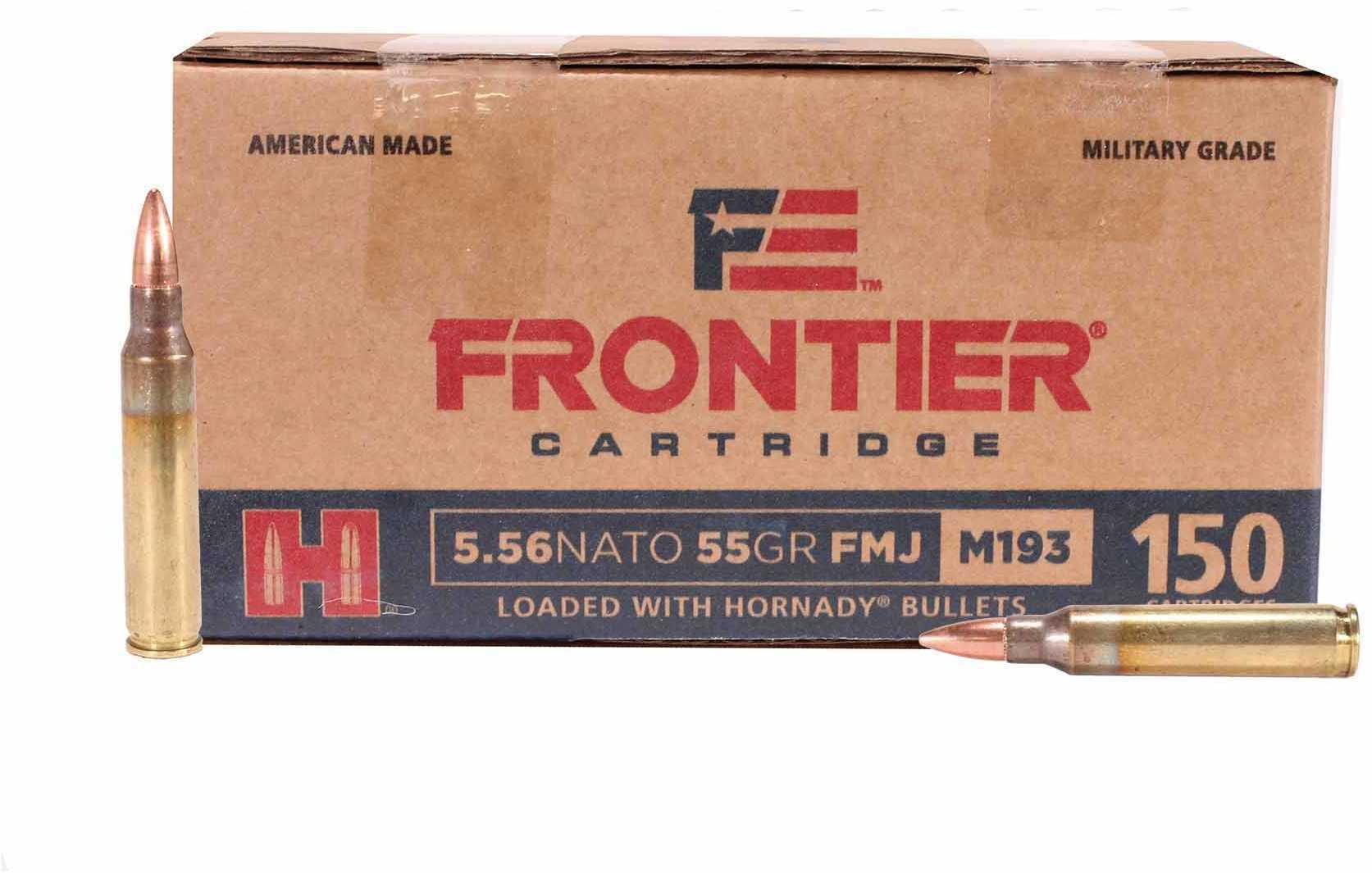 Hornady 5.56x45mm NATO Frontier Cartridge Military Grade, 55 Grains, Full Metal Jacket, Per 150 Md: FR202