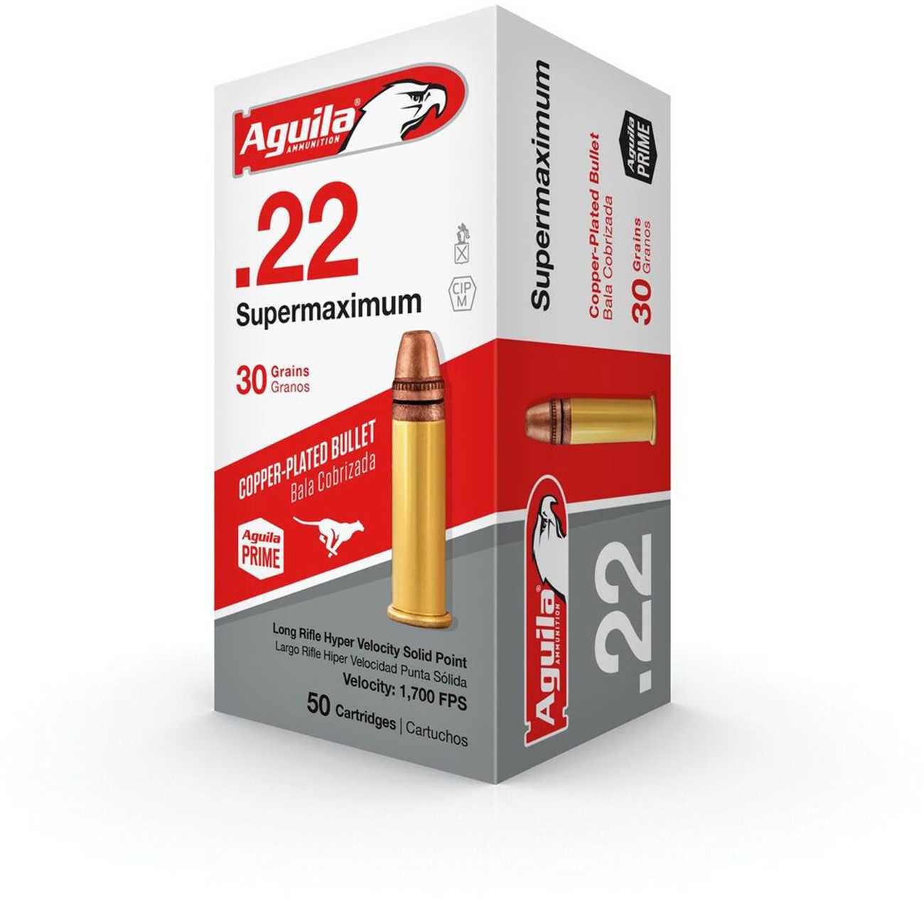 Aguila Ammunition Supermaximum Hyper Velocity 22LR 30 Grain Copper-Plated Solid Point 1B222298