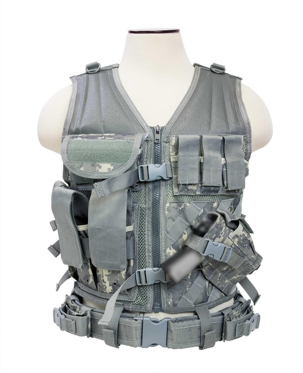 NCSTAR Tactical Vest Nylon Digital Camo Size Medium- 2XL Fully Adjustable PALS Webbing Pistol Mag Pouches Rifle Mag Pouc