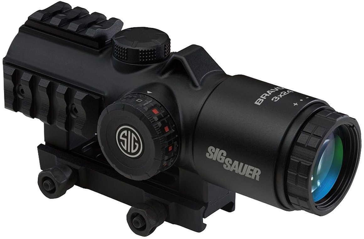 Sig Sauer BRAVO3 Prism Sight 3x24mm 1/2 MOA Adjustments, 300 Blackout Horseshoe Dot Reticle, Black