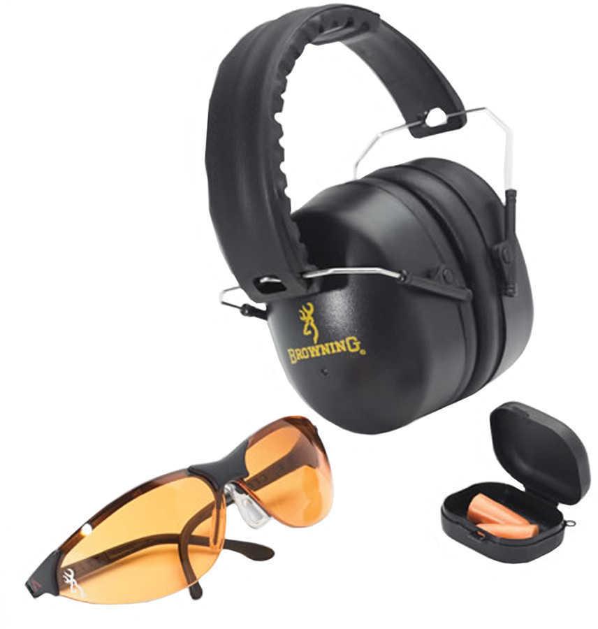 Browning 126368 Range Kit Earmuff/Plugs/Glasses 27/31 dB Black