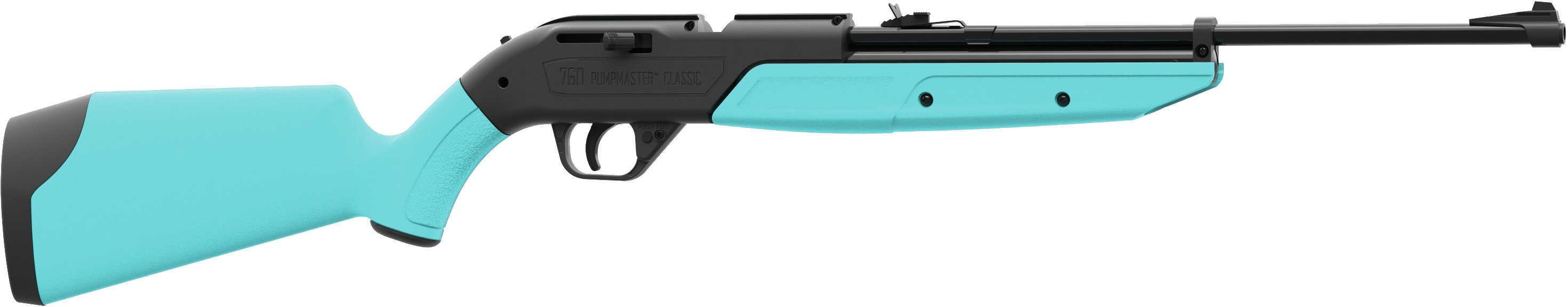 Crosman 760LB 760 Pumpmaster Air Rifle Bolt .177 Pellet/BB 18 Round Synthetic Light Blue Stock Black
