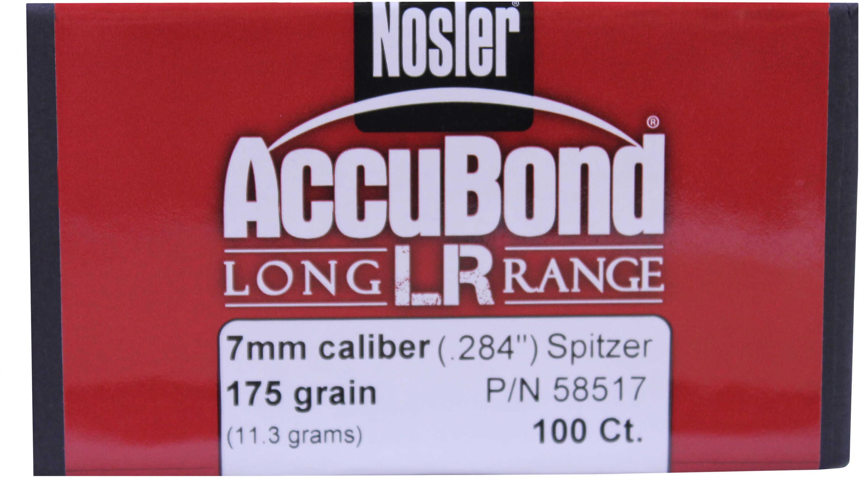 Nosler 58517 Accubond 7mm 175 Grains Spitzer 100 Per Box/Rec Hunting