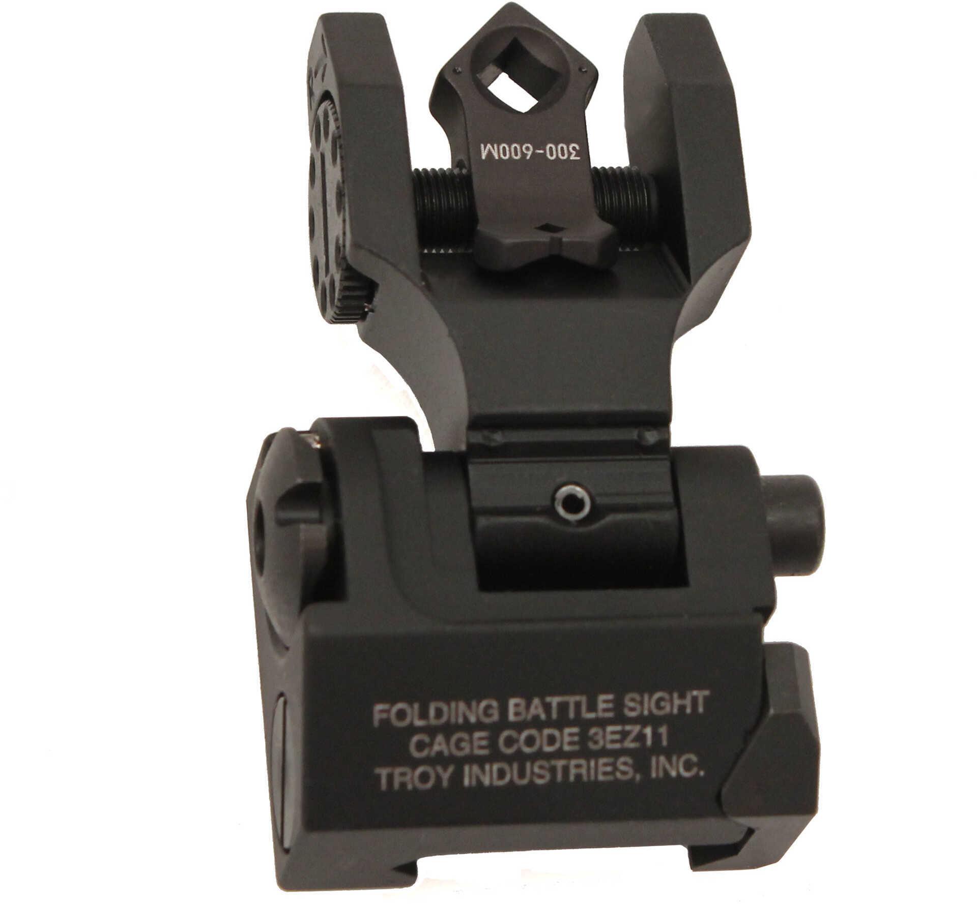 Open Box: Troy BattleSight Rear Folding Sight Di-Optic Aperture Tritium Picatinny Black Finish SSIG-FBS-TTBT-00