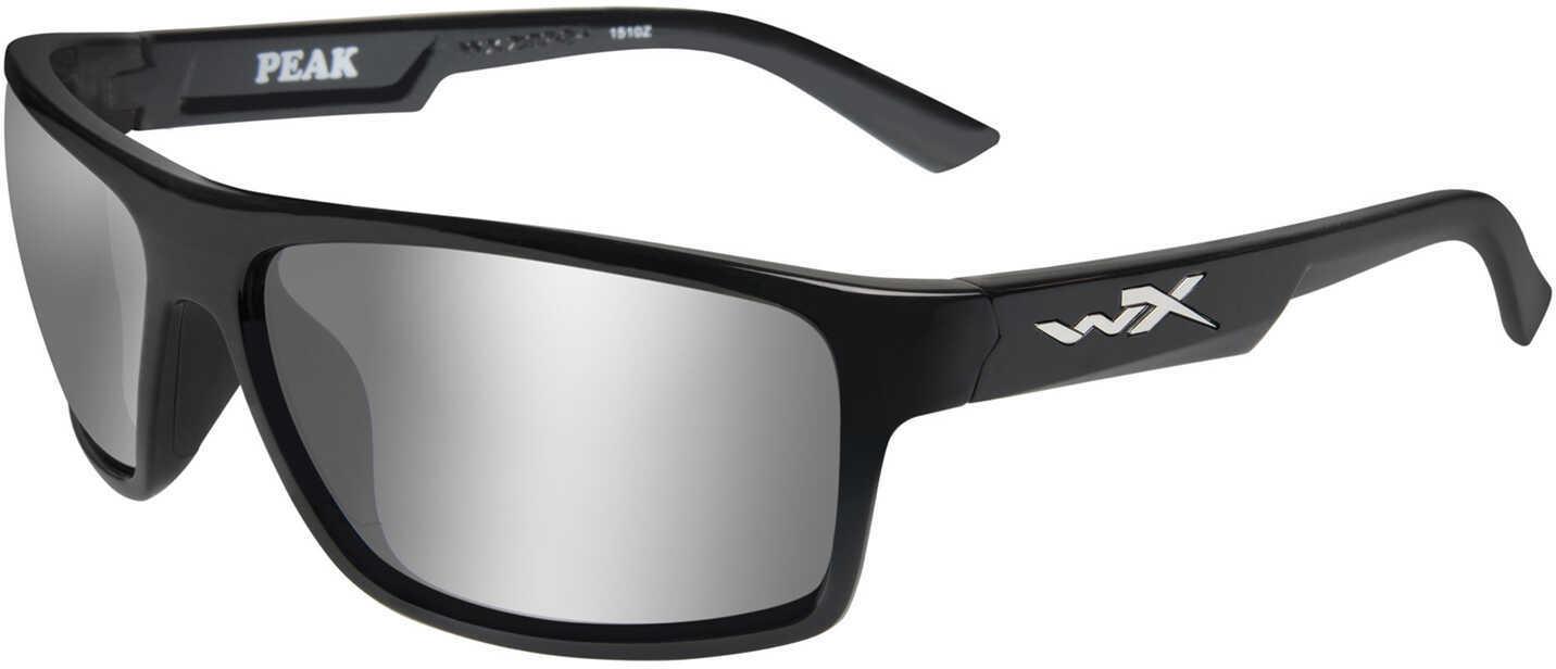 Wiley X WX Peak Sunglasses Gloss Black Frame, Gray Silver Flash Lens