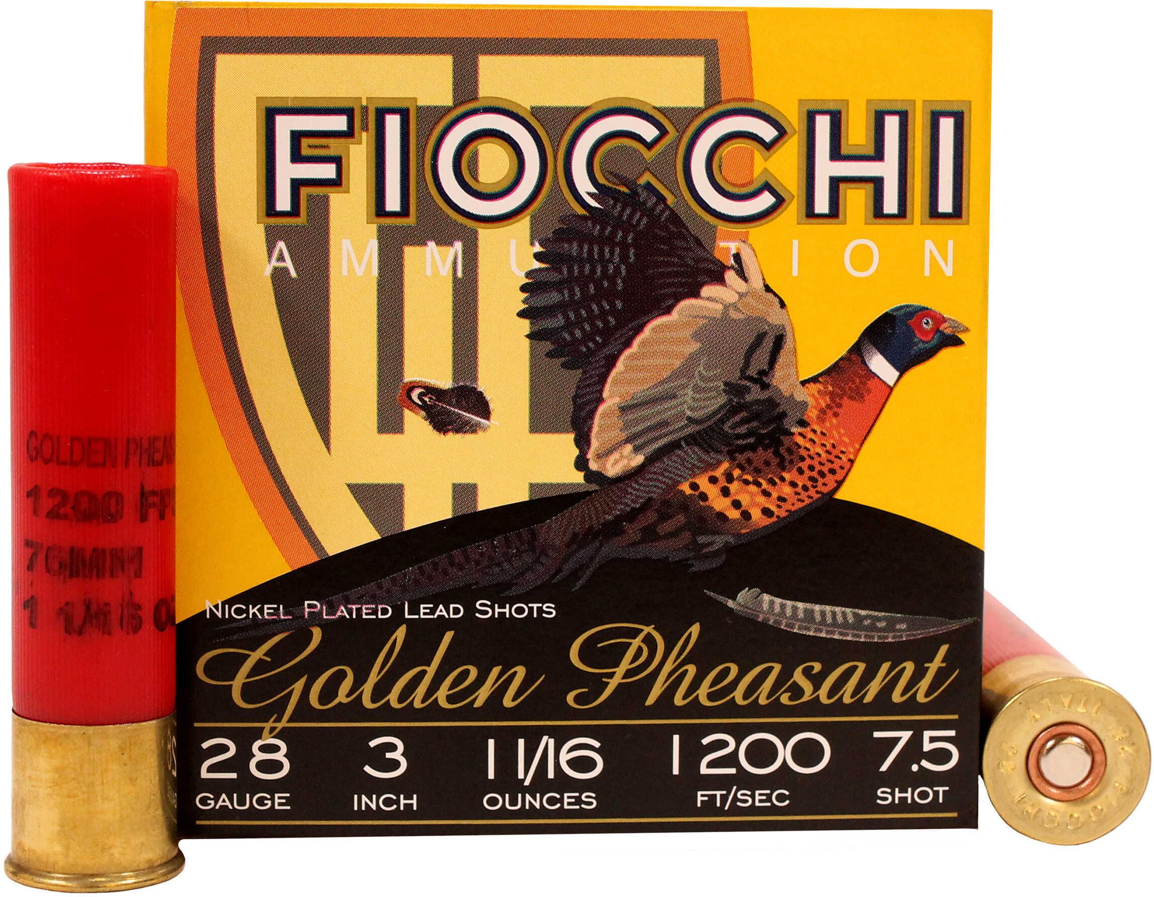 """Fiocchi 283GP75 Golden Pheasant 28 Gauge 3"""" 11/16 Oz 7.5 Shot 25 Bx/10 Cs"""