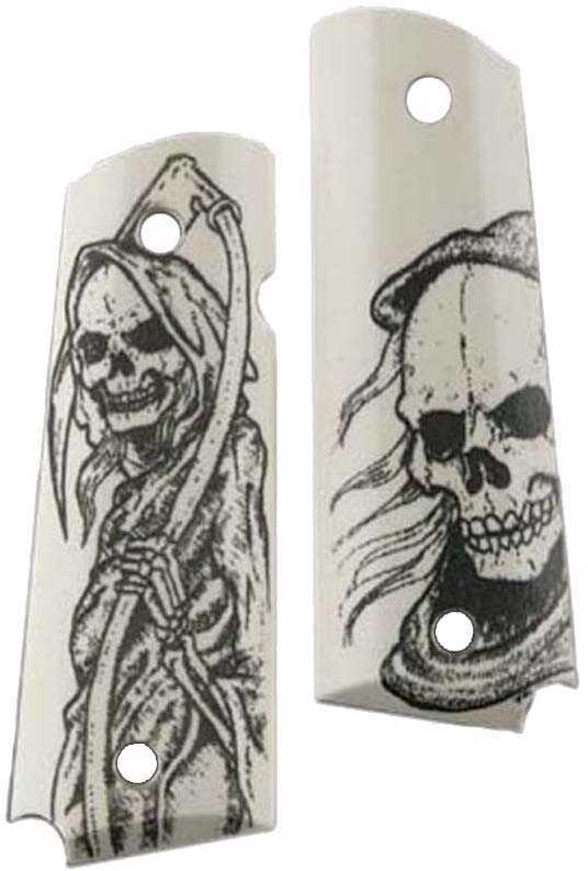 Hog Grip Govt Model Scrimshaw Grim Reaper