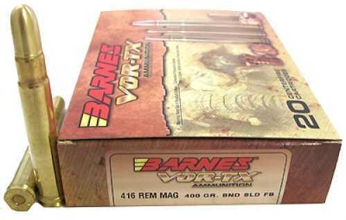 Barnes Bullets 22018 VOR-Tx Safari 416 Rem Mag 400 Gr Barnes Banded Solid 20 Bx/ 10 Cs