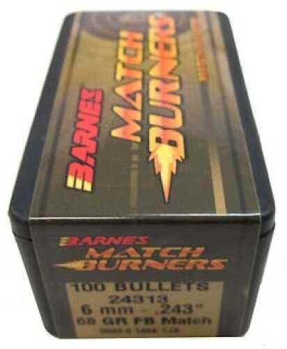 """Barnes Match Burners Bullets 6mm .243"""" 68 Gr Flat Base ..."""