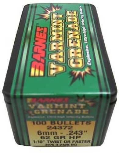 """Barnes Varmint Grenade Bullets 6mm .243"""" 62Gr Varmint ..."""