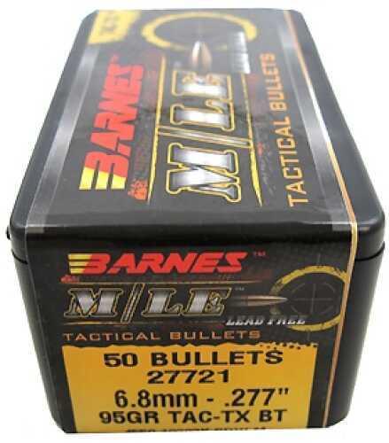 "Barnes 6.8mm Caliber Bullets .277"" 95gr M/LE TAC-TX Boattail/50 Md: 27721"