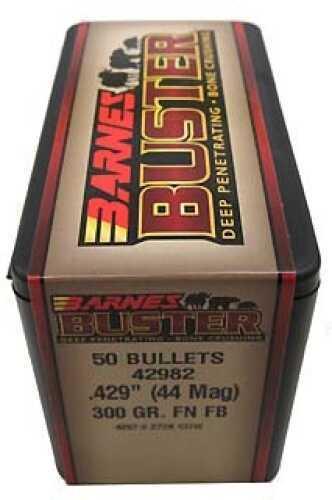 """Barnes Buster Flat Nose Flat Base Bullets 44 Mag .429"""" 300Gr (Per 50) Md: 42982"""