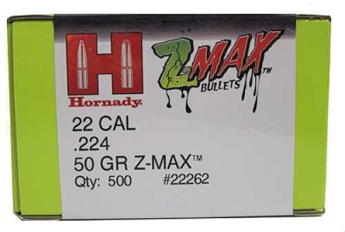 "Hornady Z-Max Reloading Bullets .22 Caliber (.224"") 50Gr (Per 500) Md: 22262"