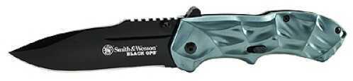 Black Ops Knife 3G, Magic Assist, Black Drop Point Blade, Blue Aluminum Handle, Pocket Clip Md: SWBLOP3B