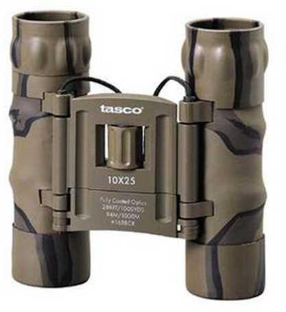 Tasco Essentials Binoculars 10X25mm, Brown, Camo Roof Prism Compact Md: 168BCRD