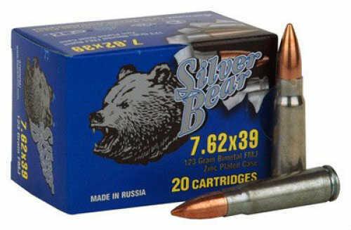 Bear Ammunition Silver 7.62X39 FMJ 124 Grain 500RDS/Case A7.62NFMJ