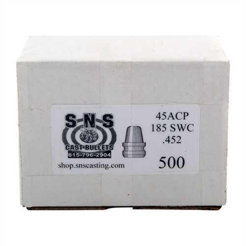 Brownells SNS Cast Component Bullet 45ACP .(452), 185 Grain Semi-Wadcutter, 500 Per Box