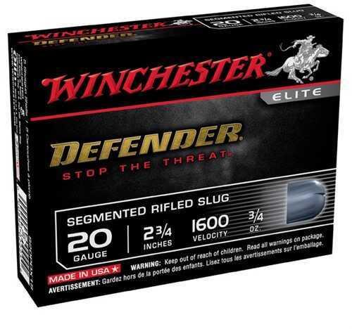 Winchester Defender 20Ga 2.75'' 3/4Oz Segmented Slug 5/Bx (5 rounds Per Box)