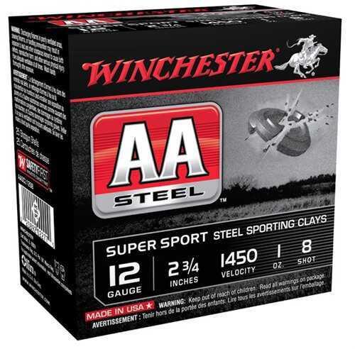 "Winchester Ammo AASCL12S8 AA Steel 12 Gauge 2.75"" 1 Oz 8 Shot 25 Box"