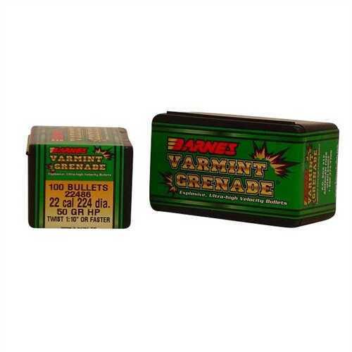 Barnes 22 Caliber 50 Grains Varmint Grenade 100/Box