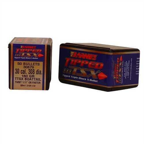 Barnes Tipped Triple-Shock X Bullets 30 Caliber (308 Diameter) 180 Grain Spitzer Boat Tail, 50 Per Box Md: 30372