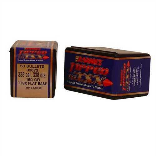 Barnes Bullet 338 Caliber .338 160 Grains Tipped TSX BT 50 Per Box