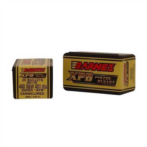 Barnes 460 Caliber 200 Grain X Pistol Bullet Per 20 Md: 45115