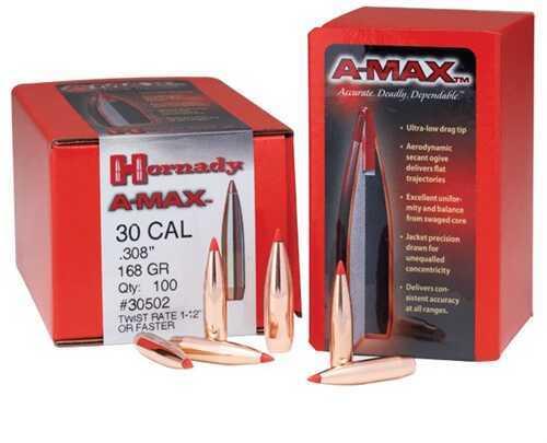 Hornady 30 Caliber Bullets 168 Grain A-Max Bullet Per 250 Md: 305026