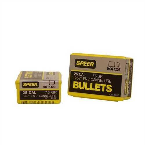 Speer 257 Caliber 25-20 75 Grains FN SP Per 100 Md: 1237 Bullets