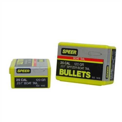 """Speer Bullet 25 Caliber 120 Grains BTSP .257"""" 100/Box"""