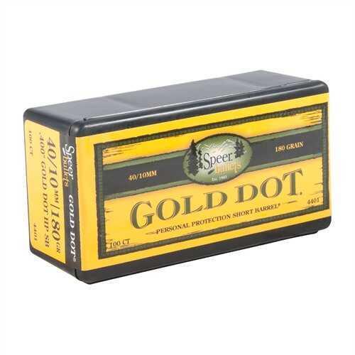 "Speer Gold Dot Hallow Point Bullets 10MM (.400"") 180 Grain GDHP"