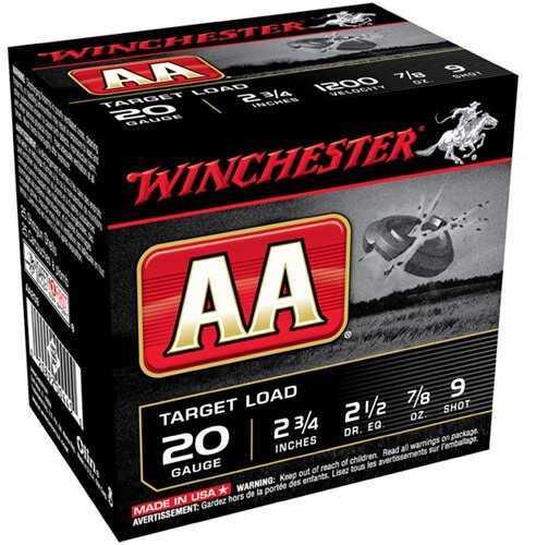 "AA Target Load Winchester 20 Gauge 2 3/4"" 7/8 Oz 9 Shot Per 25 Ammunition Md: AA209"