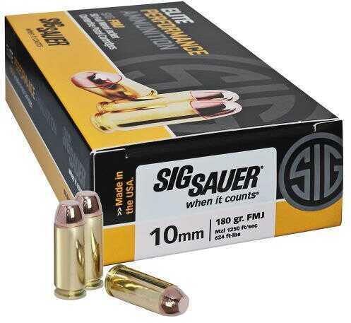Sig Sauer Elite Performance Ammunition 10mm, 180 Grains, Full Metal Jacket, Per 50 Md: E10Mb1-50