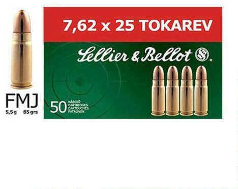 Sellior & Bellot 7.62X25 Tokarev 85 Grain FMJ 50 Rounds A7.6202 Ammunition V310112U