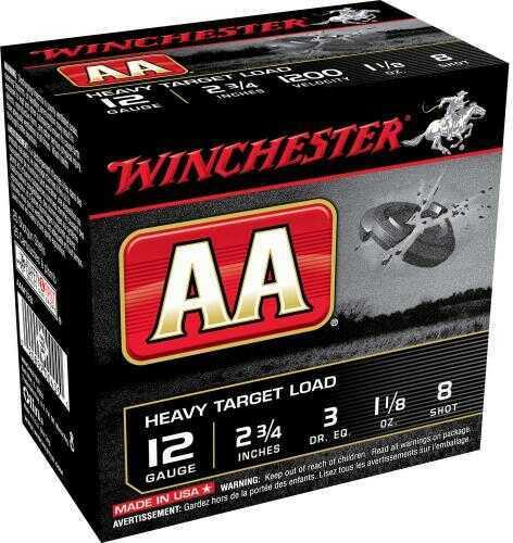 "Winchester Ammo AAM128 AA Heavy 12 Gauge 2.75"" 1 1/8 Oz 8 Shot 25 Box"