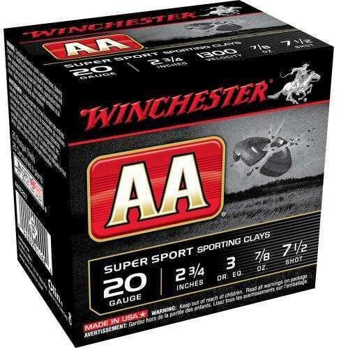 "Winchester Ammo AASC207 AA Super Sport 20 Gauge 2.75"" 7/8 Oz 7.5 Shot 25 Box"
