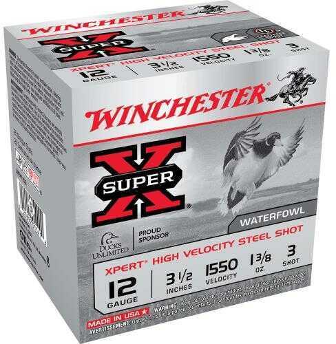 "Winchester XPERT HV Steel 12 Gauge 3.5"" 1 3/8Oz #3 25 Rds Ammunition WEX12L3"