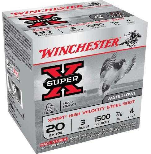 """Winchester XPERT HV Steel 20 Gauge 3"""" 7/8Oz #4 25 Rds Ammunition WEX2034"""