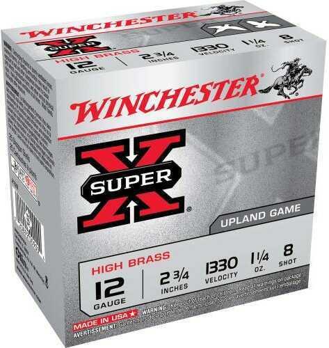 "Super X High Brass Game By Winchester 12 Gauge 2 3/4"" 1 1/4Oz 8 Shot Per 25 Ammunition Md: X128"