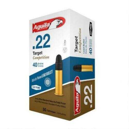 Aguila Ammunition .22 Long Rifle (LR) Target Ammunition, 40 Grains, Lead Round Nose, Per 50